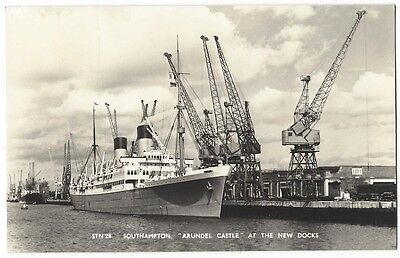 RMS ARUNDEL CASTLE at the New Docks, Southampton, RP Postcard by Mason, Unused