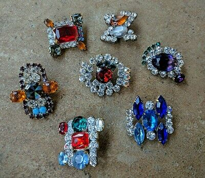 Vintage Lot of Czech Colorful Rhinestone Glass Buttons from Czechoslovakia