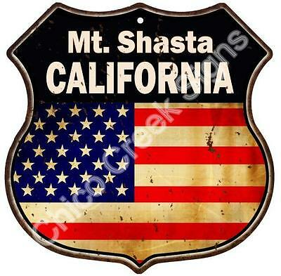 Mt. Shasta California American Flag Route 66 Shield Sign S120238