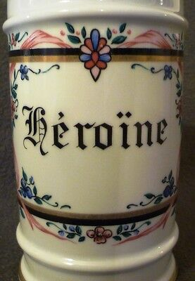 HUGE DRUG HEROIN HEROINE Apothecary Pharmacy Chemist Porcelain Jar pot vessel