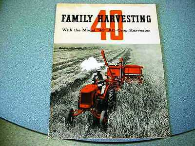 Allis Chalmers 40 All-Crop Combine Brochure  from the 1930's  24 pages