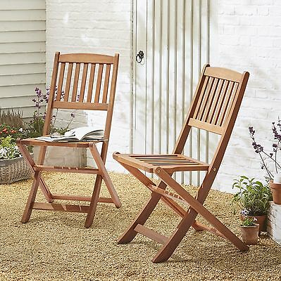 NEW Kingsbury Folding Eucalyptus Wood Garden Patio Chair - 2 Pack