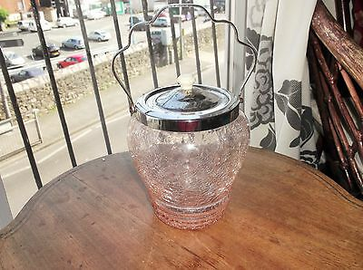 Vintage Art Deco Pink Crackle Glass Biscuit Barrel Chrome Lid & Swivel Handle