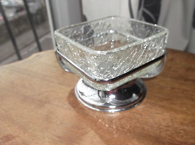 Vintage Small Crackle Glass Square Dish In Shiny Chrome Holder Stand