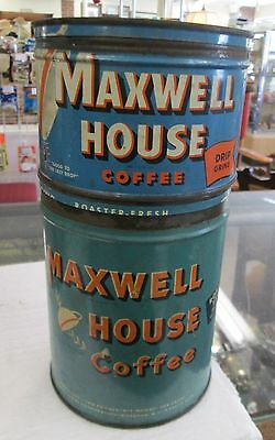 Vintage Maxwell Coffee Cans 1 pound & 2 pound cans with lids Wind  Key