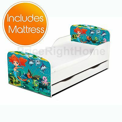 Mermaid Toddler Bed With Storage + Deluxe Foam Mattress Girls Junior Kids New