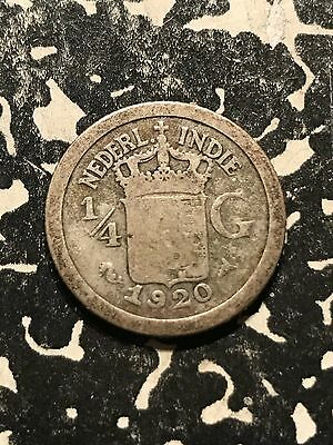 1920 Netherlands East Indies 1/4 Gulden Lot#4126 Silver!