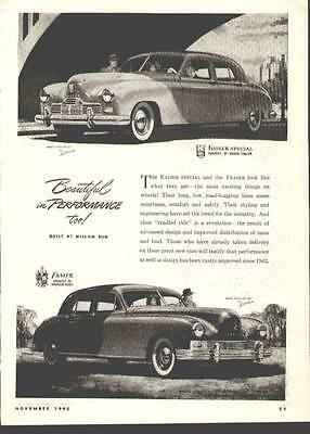 1946 ad for Kaiser-Frazer (Kaiser Special & Frazer Sedan De Luxe shown)