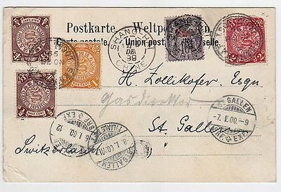 CHINA SHANGHAI 1899  Dragon Cover PC via French P.O to St.Gallen Switzerland