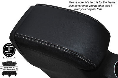 Grey Stitching Leather Skin Armrest Lid Cover Fits Ford Fiesta Mk9 2013-2016