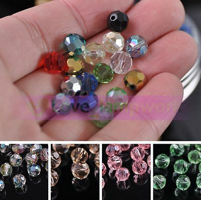Bulk Wholesale 8mm Round Faceted Crystal Glass Loose Spacer Beads Jewelry Making