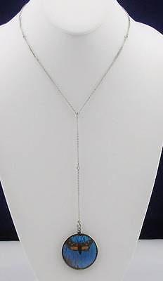RARE 1920's Sterling Silver Butterfly Wings Double Sided Pendant Necklace