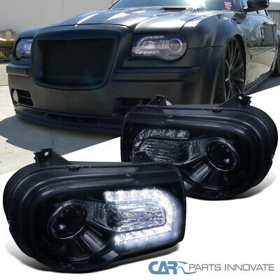 Glossy Black For Chrysler 05-10 300C Tinted LED Bar Projector Headlights Lamps