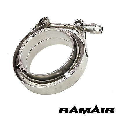 "3"" Inch 76mm Stainless Steel V Band Clamp & Flanges Exhaust Kit Turbo Manifold"