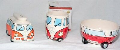 Giftworks China Campervan Boxed Mug , Moneybox & Breakfast Bowl - Peace / Bundle