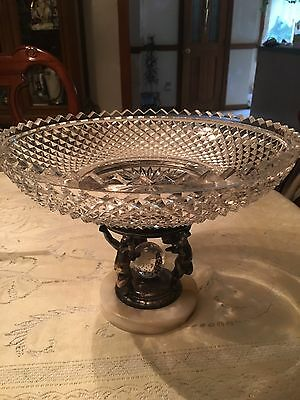 Beautiful Pairpoint Cupid Silverplate Compote Crystal Bowl