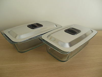 2 x EKCO Hostess Trolley GLASS DISHES with LIDS v.g.c.