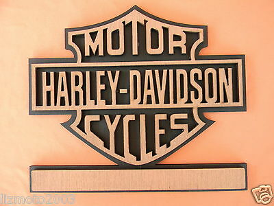 "Harley BAR & SHIELD wooden PLAQUE  unique ""ART"" almost 10 inch square"