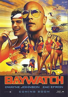 BAYWATCH 2017 Cinema Movie Poster (Dwayne Johnson/Zac Efron) A4 Size