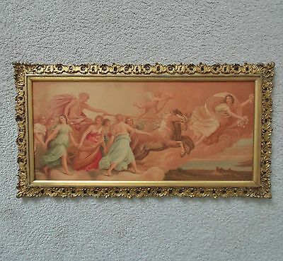 Antique 19c Apollo's Chariot Chromolithograph Print Gilt Wood Picture Frame