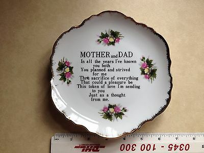 Scallop edged White and Gold Celebration Anniversary Plate Mother Mum Dad