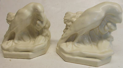 vintage rookwood IVORY WHITE RAVENS bookends art pottery 1958 clean no damage