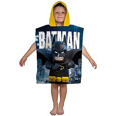 Lego Batman Movie Hooded Poncho Towel 100% Cotton Blue Yellow New Free P+P
