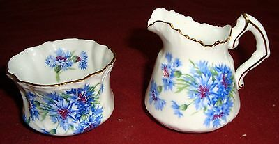 Hammersley & Co ENGLAND Cornflower Blue MINIATURE CREAMER AND SUGAR BOWL