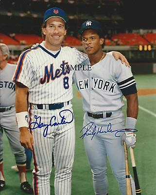 Rickey Henderson Gary Carter Reprint Picture Signed Photo 8X10 Ny Yankees Mets
