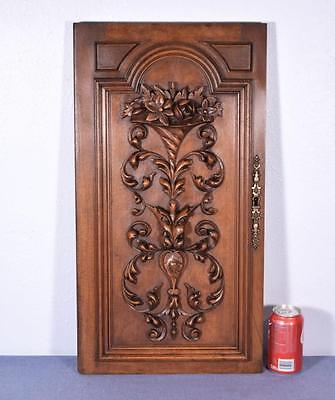 French Antique Panel/Door with Bouquet of Flowers in Walnut Wood