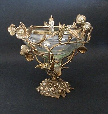 Fancy Ornate Compote Brass Roses Vines & Green Etched Glass