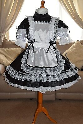 Gorgeous Black Satin Adult Sissy Maids dress with white apron size xxl