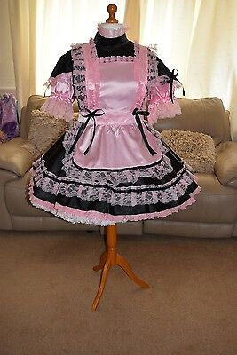 Gorgeous Black Satin Adult Sissy Maids dress with Pink apron size xxl