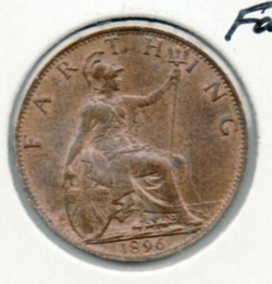 1896 Great Britain Farthing. Very nice red/br coin. Includes free shipping US.