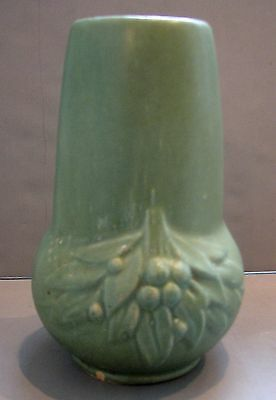 Vintage McCoy Pottery Leaves & Berries Vase Matte Green Stove Pipe