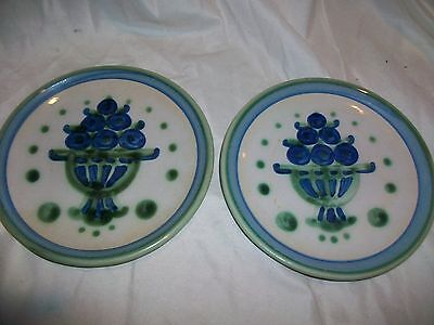 "2 Mary Hadley Pottery Blueberry Small Plates 6 1/4"" Green Blue"