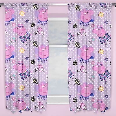 "PEPPA PIG HAPPY 66"" x 72"" CURTAINS NEW GIRLS BEDROOM"