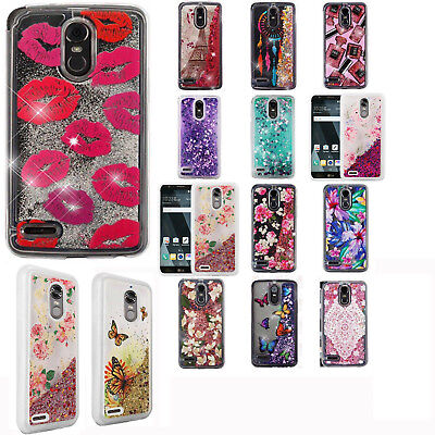 For LG Stylo 3 Liquid Glitter Quicksand Hard Case Phone Cover + Screen Protector