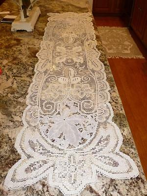 Antique Vintage Alencon Tambour LACE DRESSER SCARF TABLE RUNNER Silky Thread