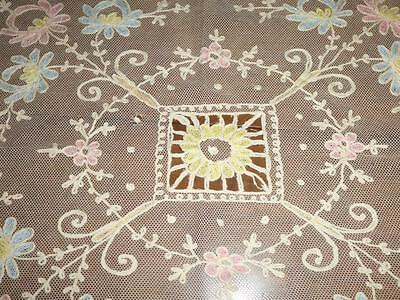 """Antique Vtg French Tambour Net Lace Tablecloth Runner Tinted Flowers 27x36"""""""