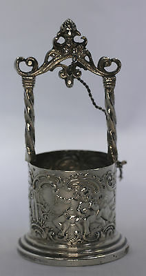Vintage 800 Silver Miniature Wishing Well Figure Cherubs at Play