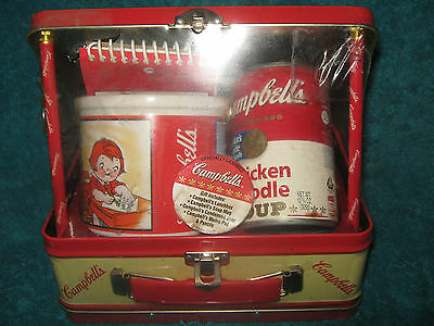 1998 Vintage Campbells Soup Gift Set -Collectible Metal Lunch Box w/ Mug & Soup