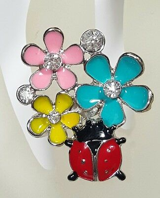 Jewelry Ring Silver Tone Red Lady Bug Blue Pink Enamel Glass Rhinestones #3830