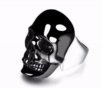 BLACK OBSIDIAN Carved Crystal Skull with Sterling Silver Ring, Jewelry #S329