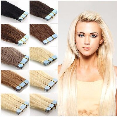 AU Tape in 100% Human Hair Extensions Natural Straight Real 20pc/40pc/60pc YA2