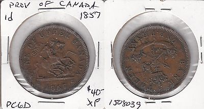 Province of Canada 1857 one penny token PC-6D #2