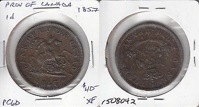 Province of Canada 1857 one penny token PC-6D #4