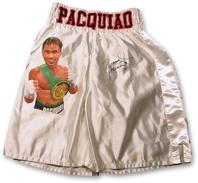 Manny Pacquiao Signed Autographed Custom Painted Boxing Trunks Silver JSA F06874
