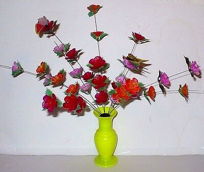 Vintage Noddable Plastic Flowers & Butterflies On Wire In Vase Nib