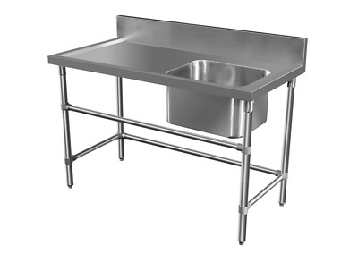 2200 x 600mm COMMERCIAL SINGLE RIGHT BOWL KITCHEN SINK STAINLESS STEEL BENCH E0